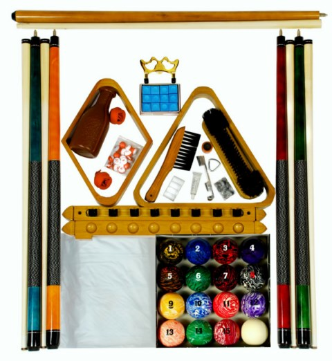 Pool Table Accessory Kit with Art # Marble Style Balls Oak Finish